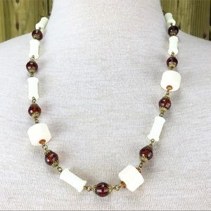 Vintage Jewelry - Vintage Root Beer & Cream Plastic Bead Necklace